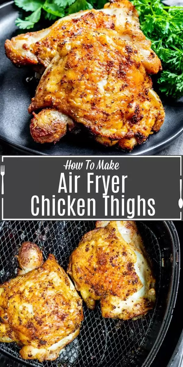 Pinterest image for Air Fryer Chicken Thighs with title text