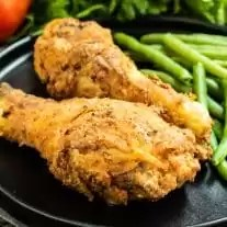 Air Fryer Fried Chicken leg with crispy golden brown crust