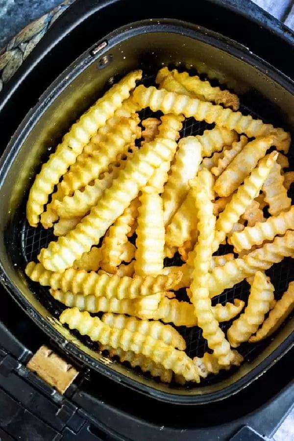 Air Fryer Frozen French Fries crinkle cut fries in air fryer basket