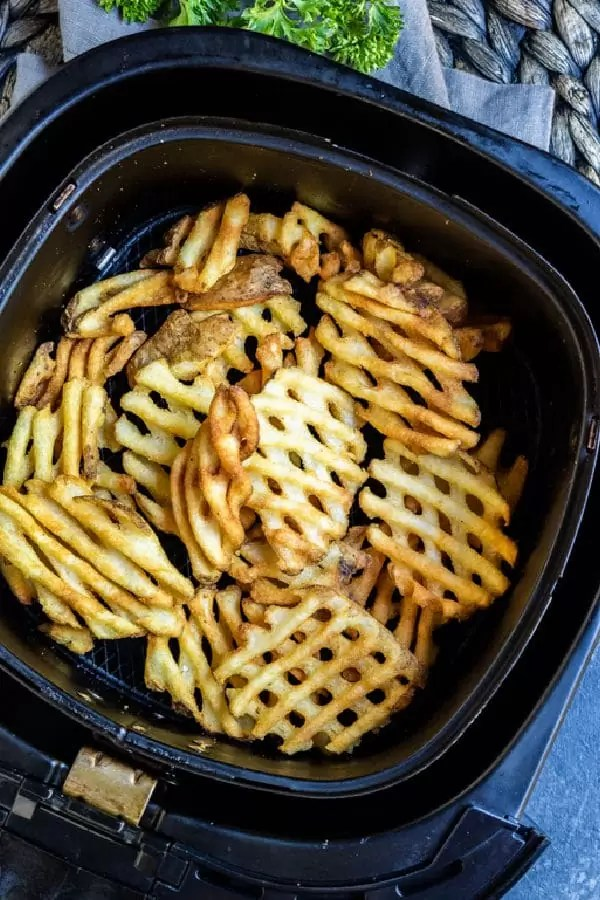 Air Fryer Frozen French Fries waffles fries in air fryer basket
