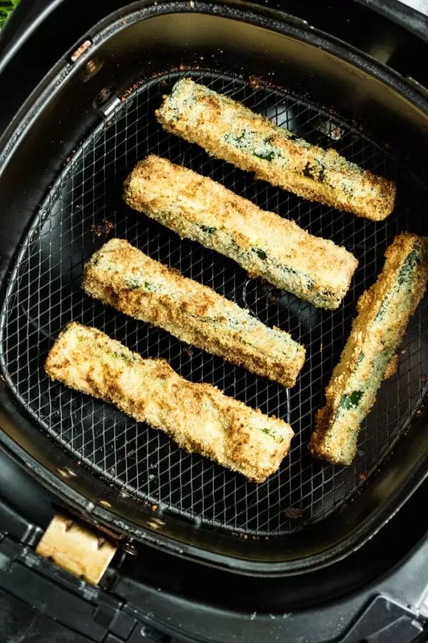 Air Fryer Zucchini in air fryer basket