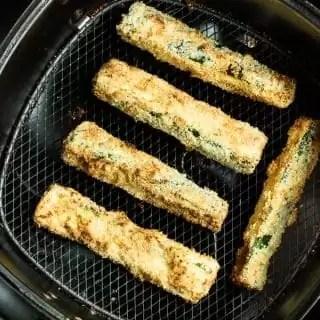 Air Fryer Zucchini in air fryer basket