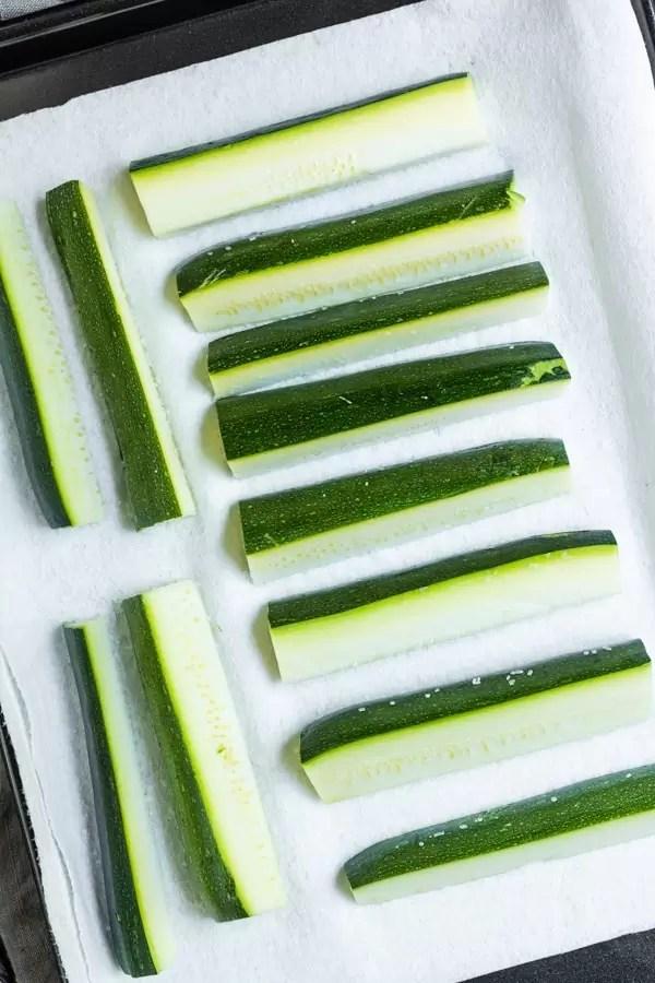 salted zucchini to make Air Fryer Zucchini