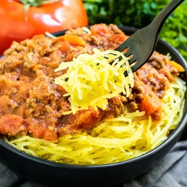 bowl of Instant Pot Spaghetti Squash with keto meat sauce