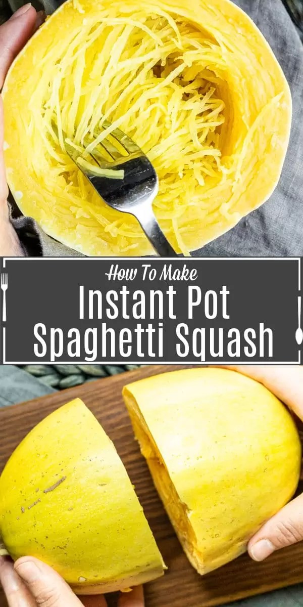Pinterest image of Instant Pot Spaghetti Squash with title text
