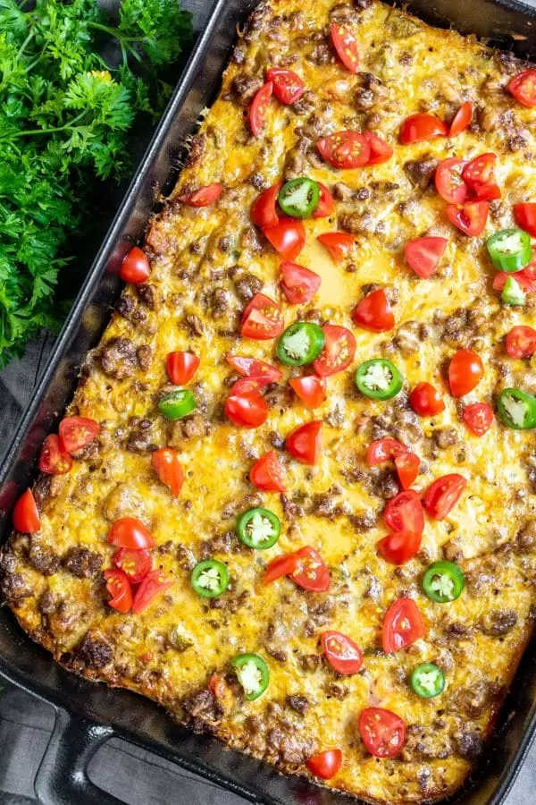 Keto Taco Casserole is a great weekday recipe that can be frozen
