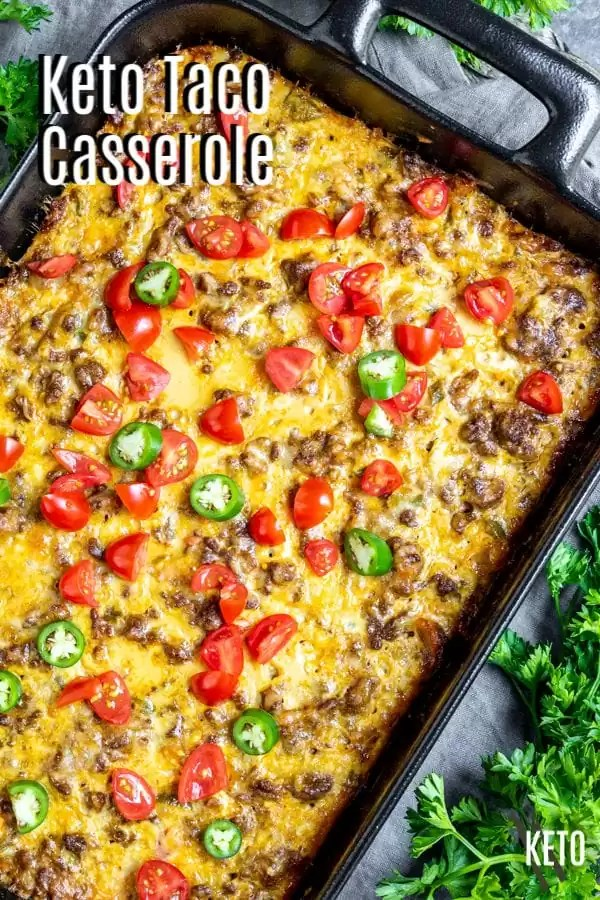 Pinterest image for Keto Taco Casserole with title text