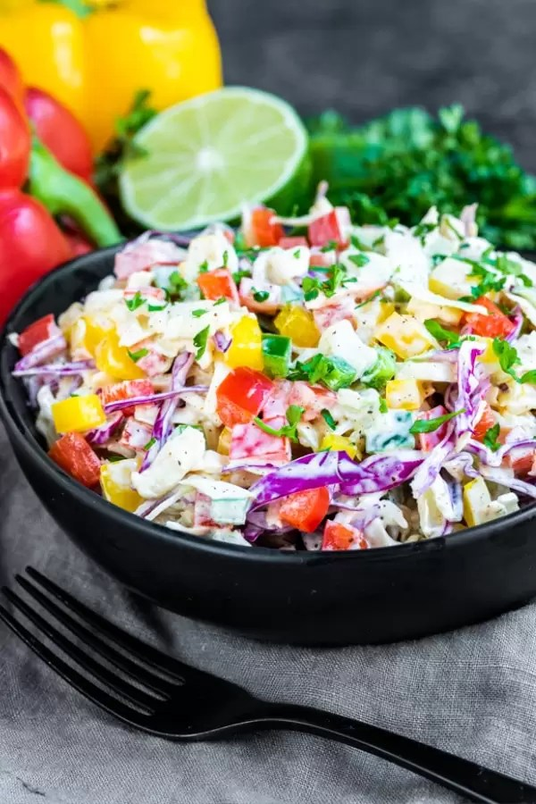Spicy Jalapeno Coleslaw is the perfect make ahead keto side dish