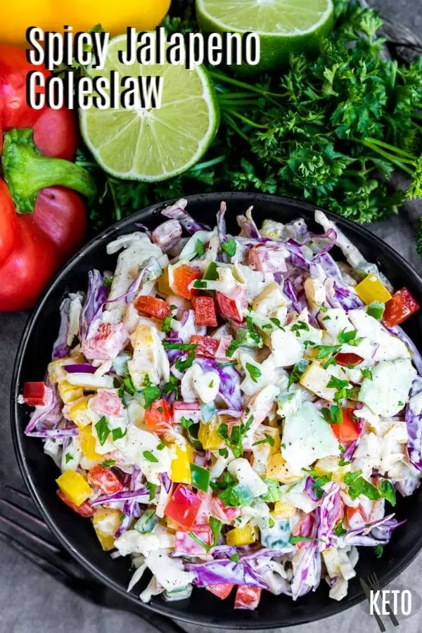 Pinterest image for Spicy Jalapeno Coleslaw with title text
