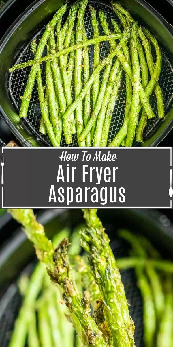 Pinterest image for Air Fryer Asparagus with title text