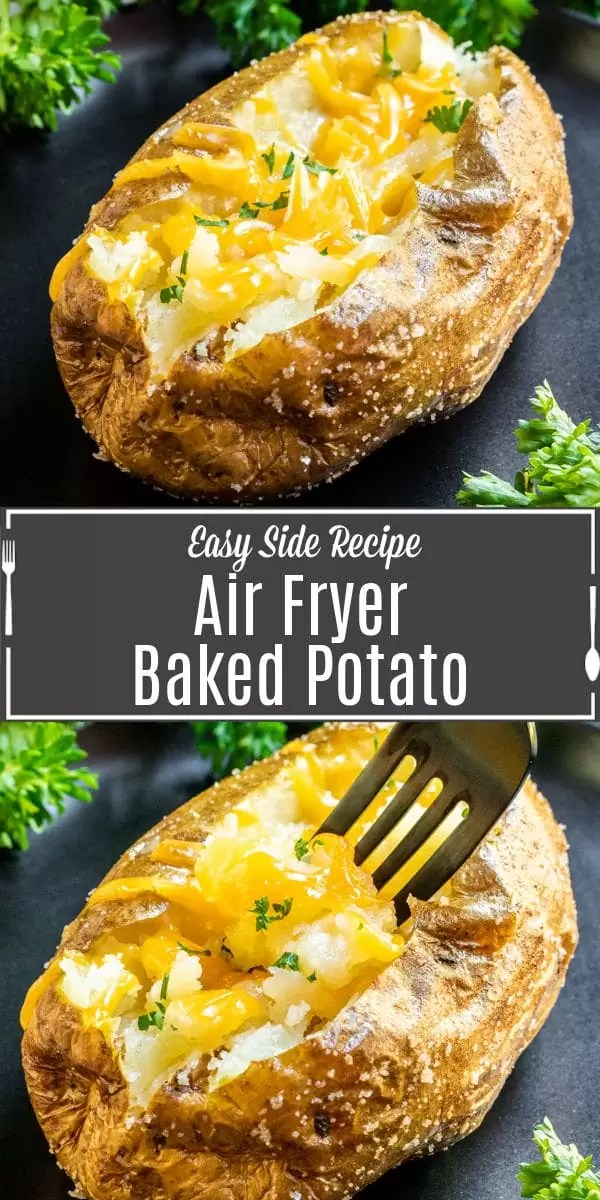Pinterest image for Air Fryer Baked Potato with title text
