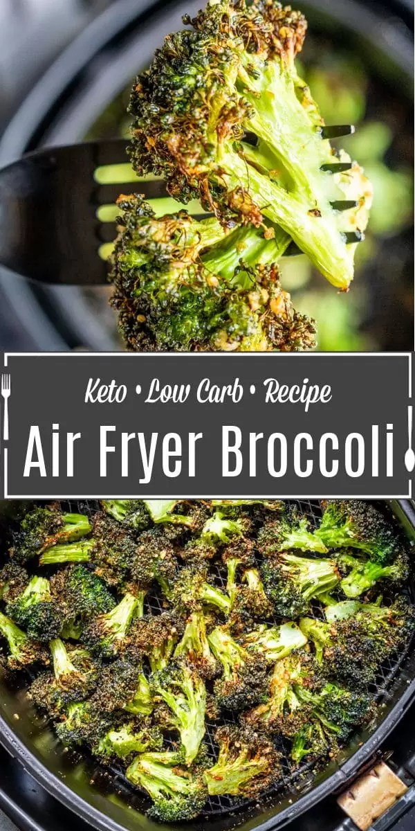 Pinterest image for Air Fryer Broccoli with pinterest text