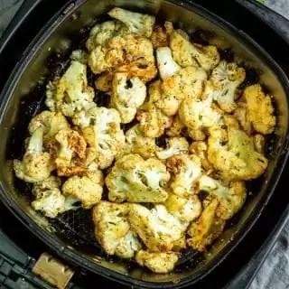 Air Fryer Cauliflower in air fryer basket