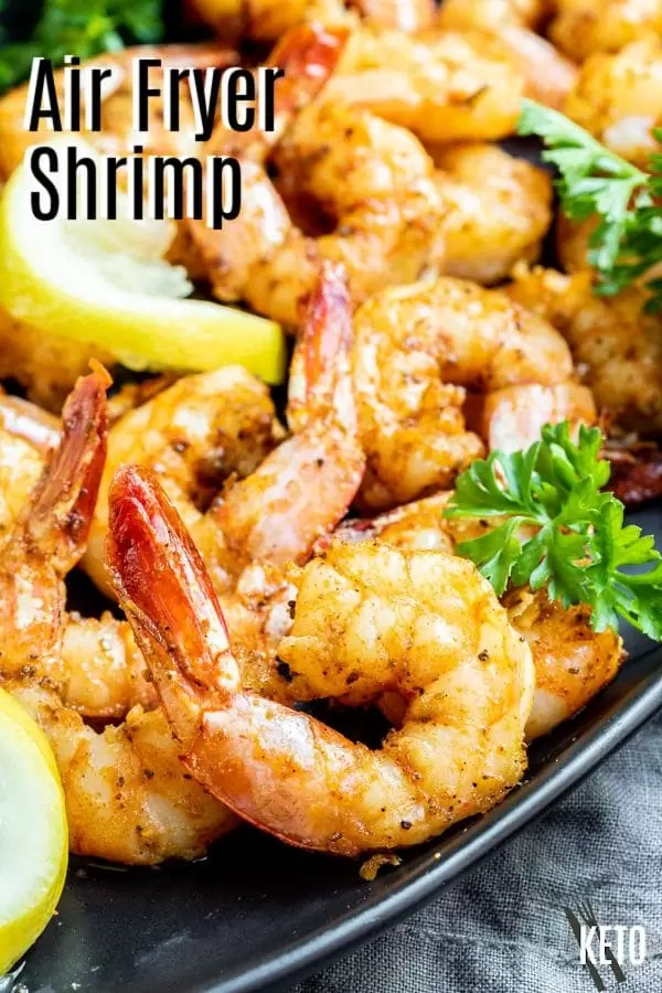 Pinterest image for Air Fryer Shrimp with title text