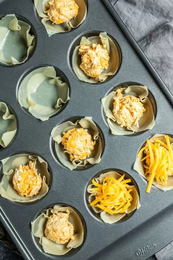 steps to make Buffalo Chicken Cups