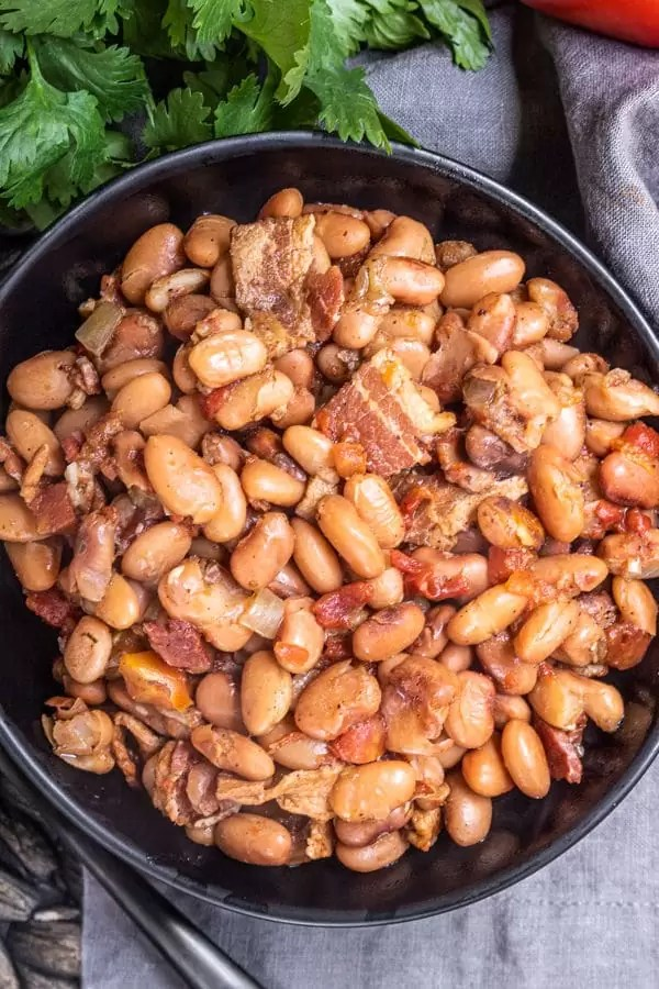 Instant Pot Pinto Beans cooked with bacon