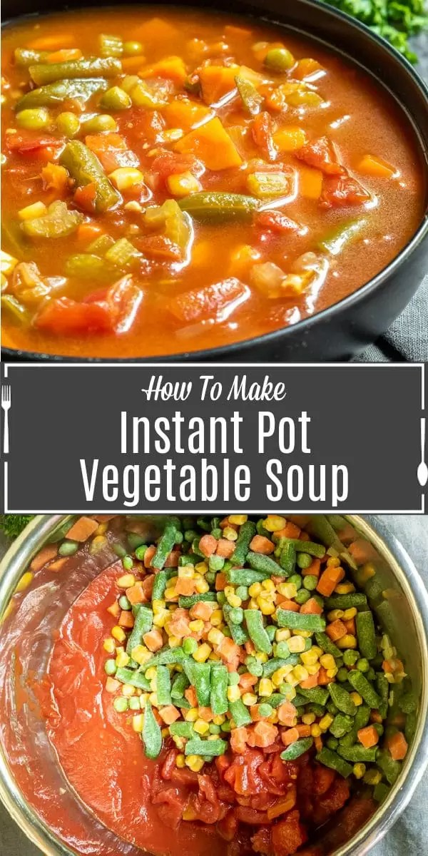Pinterest image for Instant Pot Vegetable Soup with title text