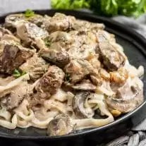 Keto Beef Stroganoff with keto pasta