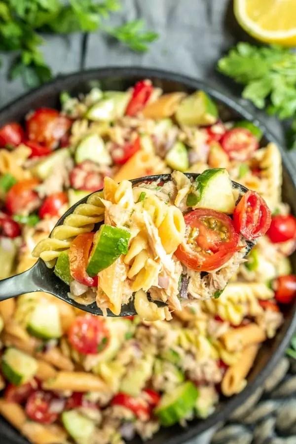 spoonful of Tuna Pasta Salad