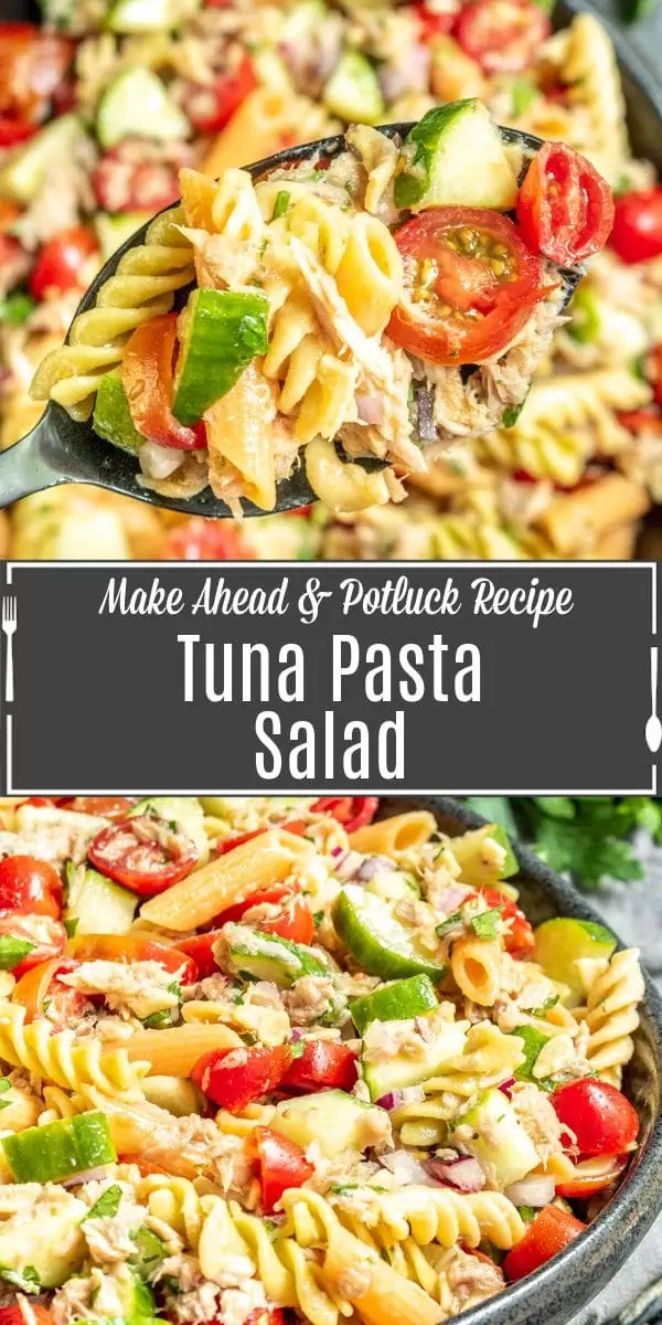 Pinterest image for tuna pasta salad with title text