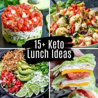 Collage of 4 keto lunch recipes with title text on top
