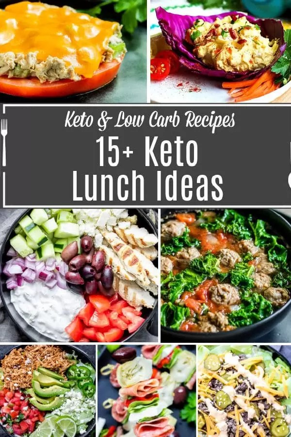 15+ Keto Lunch Ideas Pinterest Image with title text