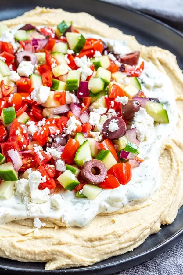 plate with 5 Layer Greek Dip