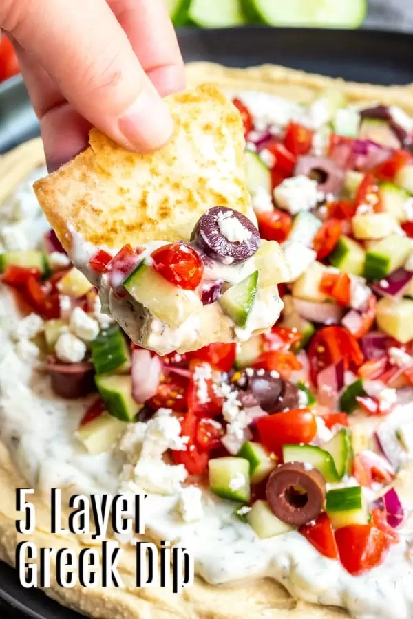 Pinterest image for 5 Layer Greek Dip with title text