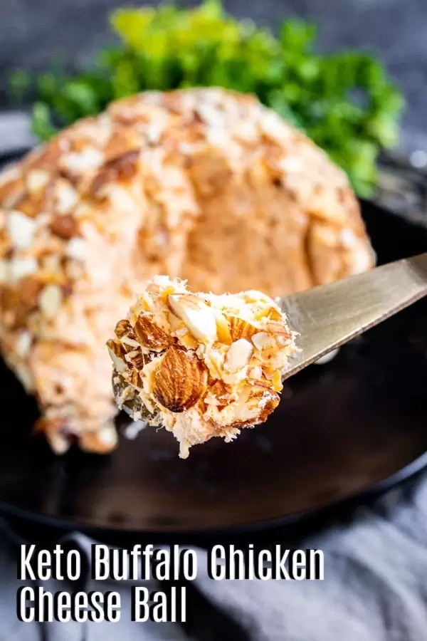 Pinterest image for Buffalo chicken Cheese Ball with title text