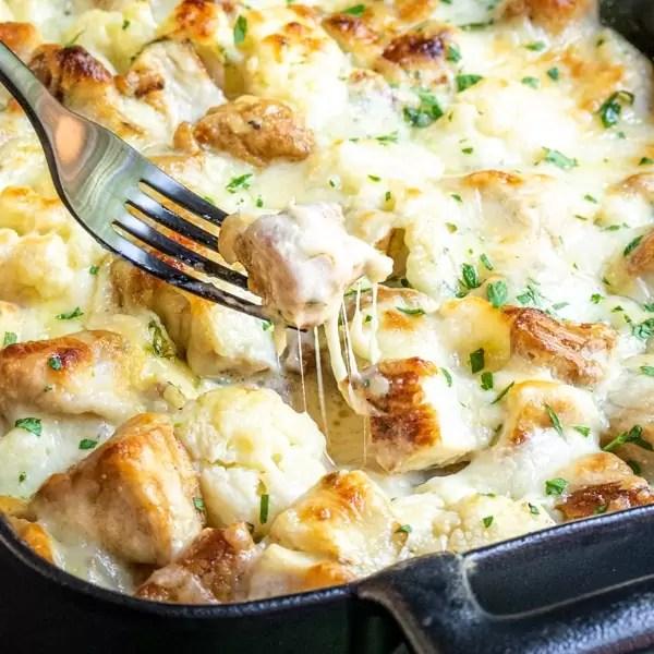 cheesy Keto Chicken Alfredo Casserole