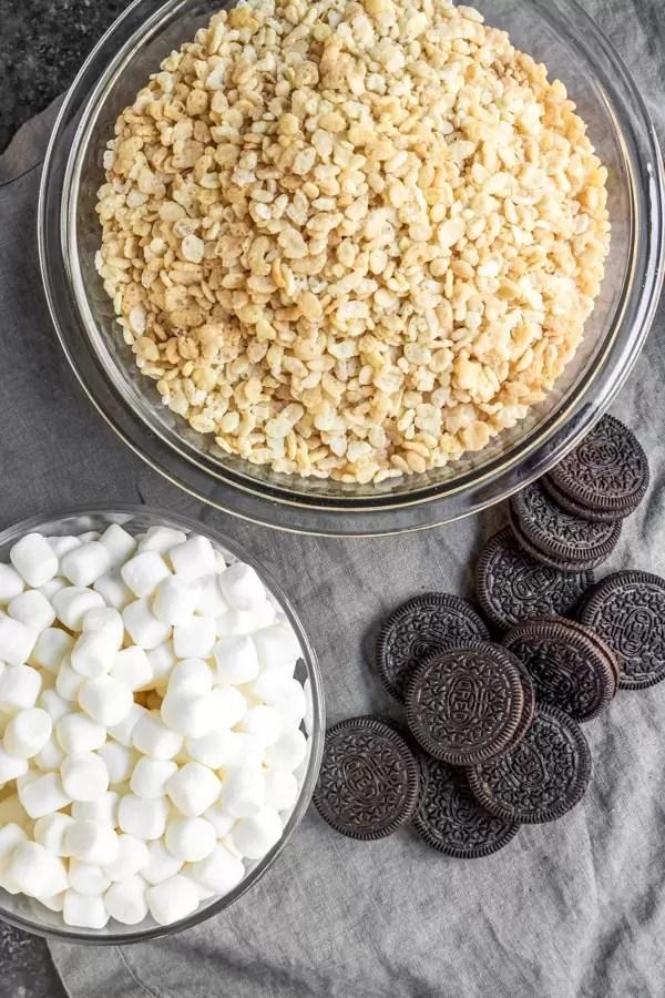 ingredients to make Oreo Rice Krispies Treats