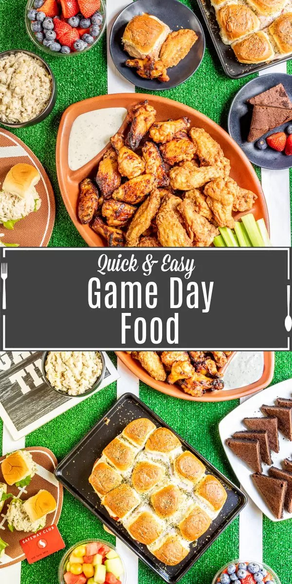 Pinterest image for Quick and Easy Game Day Food with title text