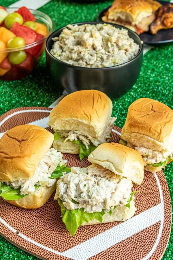 Chicken salad on a slider bun