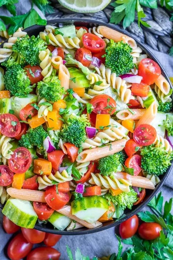bowl full of vegan pasta salad