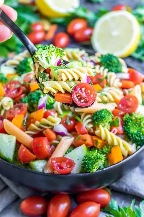 serving vegan pasta salad