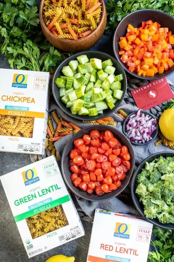 ingredients for gluten free pasta and bowl of ingredients to make Vegan Pasta Salad