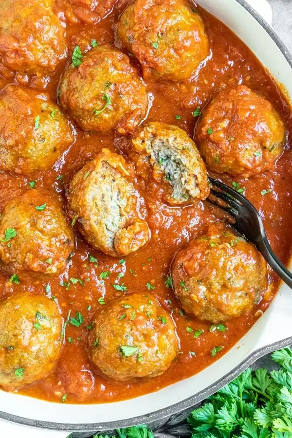 Baked Turkey Meatballs in skillet
