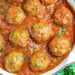 skillet filled with Baked Turkey Meatballs