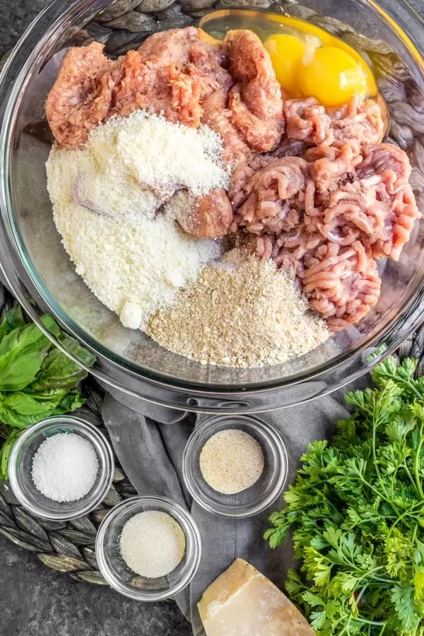 ingredients for Baked Turkey Meatballs