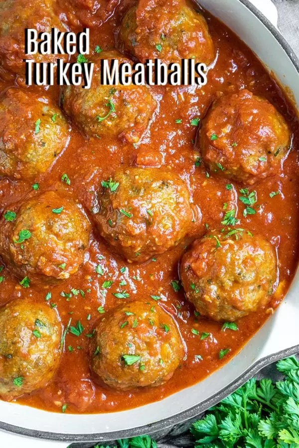 Pinterest image for Baked Turkey Meatballs with title text