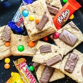 Candy Bar Cookie Bars with fun size candy bars