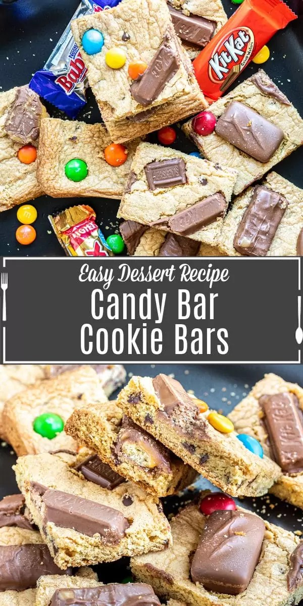 Pinterest image for Candy Bar Cookie Bars with title text