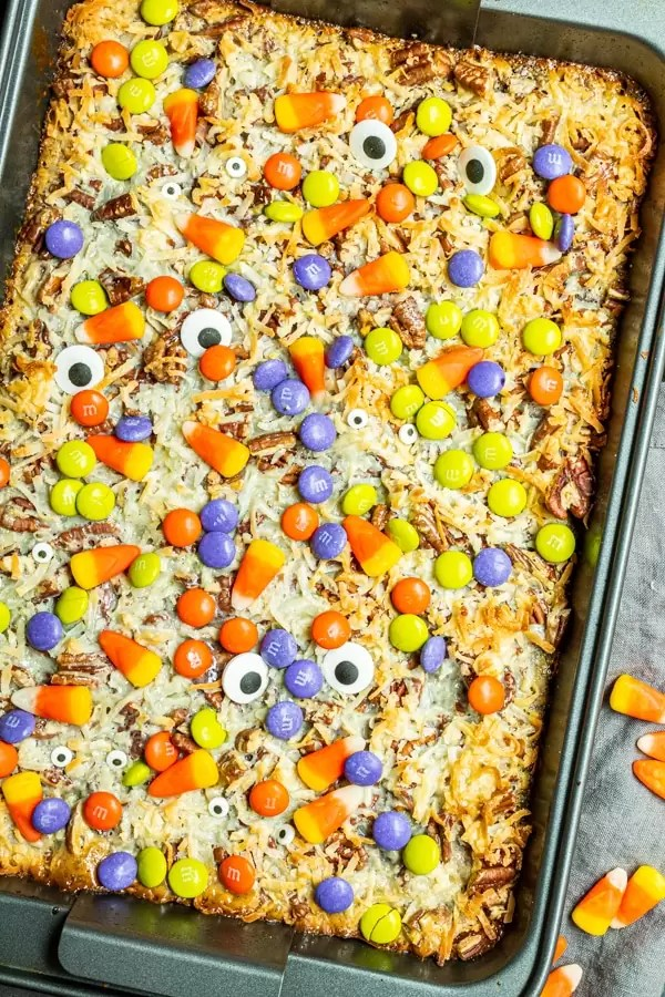 Halloween Magic Cookie Bars in a pan