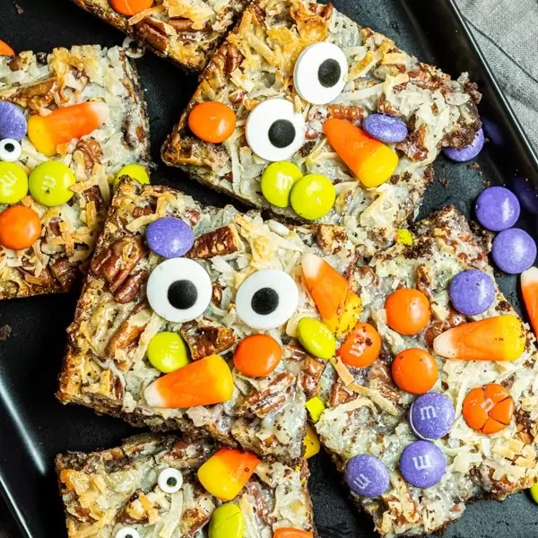 Halloween Magic Cookie Bars on a plate