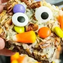 Halloween Magic Cookie Bars with candy corn