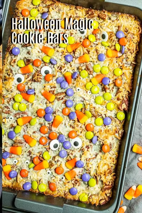 Pinterest image for Halloween Magic Cookie Bars with title text