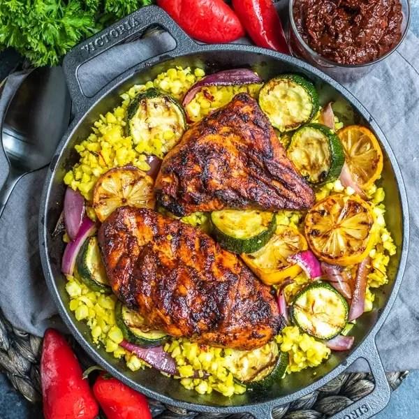top down shot of grilled harissa chicken