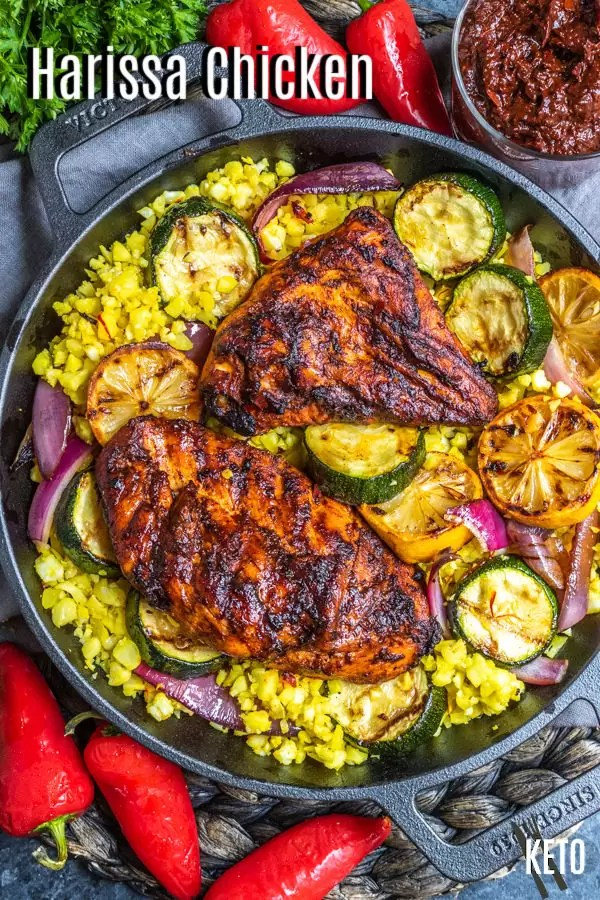 Pinterest image of Harissa Chicken with title text