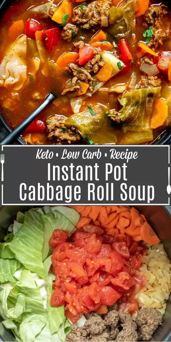 Immagine Pinterest per Instant Pot Cabbage Roll Soup con il testo del titolo