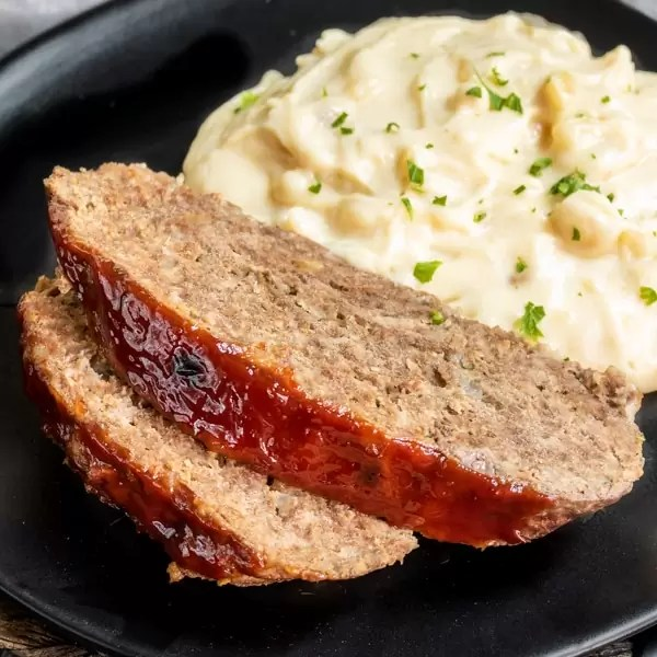 Instant Pot Meatloaf and Mashed Potatoes on a plate